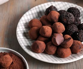 Trufas de chocolate negro