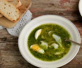 Sopa de cilantro, bacalao y huevos