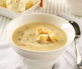 Sopa de coliflor con grelos