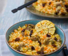 Arroz con cordero y verduras (Plov)
