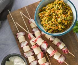 Brocheta de pulpo con ensalada de brócoli y mayonesa de jengibre
