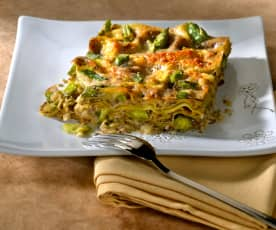 Lasagne mit Spargeln und Pilzen