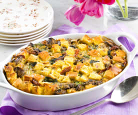 Mushroom and Spinach Strata