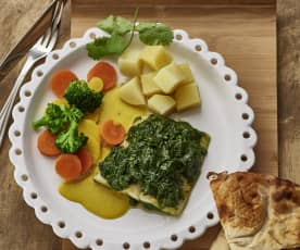 Ψάρι με Ινδικές γεύσεις, σάλτσα γιαουρτιού, πατάτες και λαχανικά
