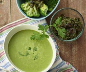 Crema de canónigos. Brócoli con salsa de aceitunas negras