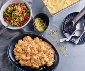 Menu: Gnocchi com molho de tomate e mascarpone; Salada de brócolos e sorbet de fruta