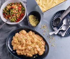 Gnocchi w sosie pomidorowym; Surówka brokułowa; Sorbet owocowy