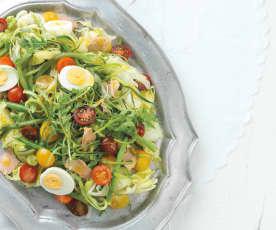 Salada gigante com vinagreta de framboesa e mel