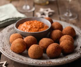 Crab Croquettes with Romesco Sauce