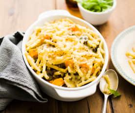 Gratin de macaroni au bœuf et à la courge