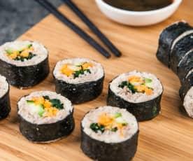 Sushi de verduras crudivegano
