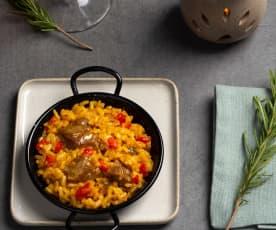 Arroz en textura de paella con carrillera ibérica y aroma de romero