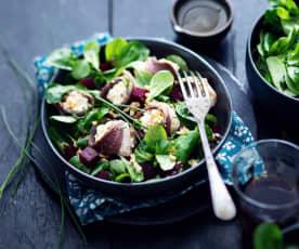 Salade de tranches de magret roulées au chèvre