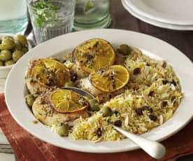 Frango assado com laranja e arroz árabe
