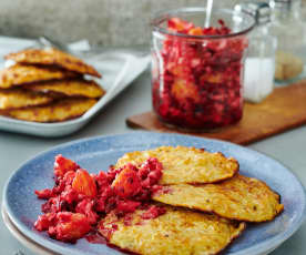 Blumenkohl-Puffer mit Rote-Bete-Salat