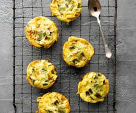 Muffins de omelette con cebolla cambray