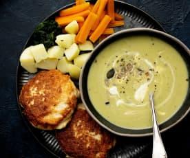 Vellutata di asparagi e aneto con polpette di pollo e verdure a vapore