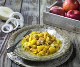 Spezzatino di maiale, mele e cipolle