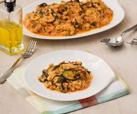 Quinoa con verduras y salsa tahini