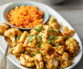 Kung Pao Cauliflower with Pickled Carrot and Sesame Salad