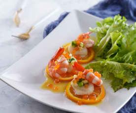鮮蝦干貝佐咖哩柳橙油醋醬