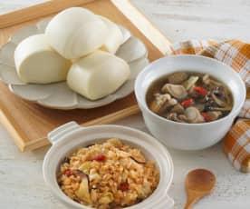 迷你小饅頭、蔬菜炊飯&牛蒡鮮菇湯