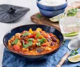 Wegański gulasz z fasolą i tofu (z osłoną noża miksującego)