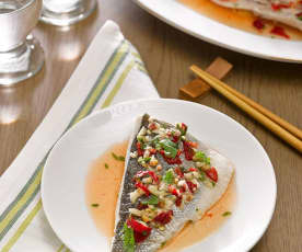Steamed Sea Bass with Lime Sauce