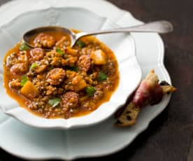 Spanish Green Lentil And Chorizo Soup