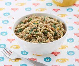 Guiso de arroz, lentejas y espinaca