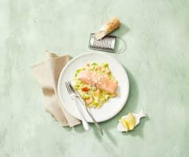Lachs mit Meerrettich-Apfel-Stampf