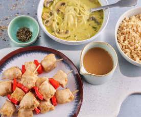 Zuppetta asiatica funghi e curry; souvlaki di pollo e peperoni con riso