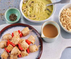 Azjatycka zupa grzybowa; Souvlaki z kurczaka i papryki z ryżem