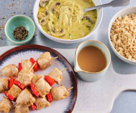 Asian Curried Mushroom Soup; Chicken and Pepper Souvlaki with Rice