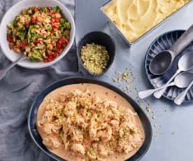 Salade de brocoli, poulet sauce tomate-mascarpone - Sorbet de fruits