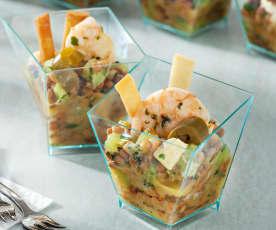 Ensalada templada de lentejas con langostinos y aliño de kiwi