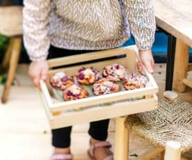 Muffins banane-framboise-coco