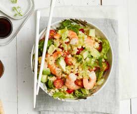 Salade de crevettes au fenouil, chiffonnade de salade et tomates cerise