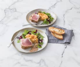 Seared tuna on chilli bean mash