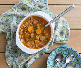 Barley, bacon and chorizo soup