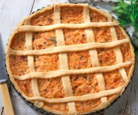 Torta salata con provola, peperoni, ricotta e speck