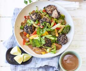 Thai-Gemüse mit Sesam-Hackbällchen