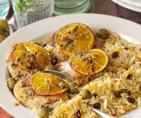 Contramuslos de pollo asados con especias a la naranja y arroz basmati con pasas