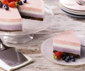 Cheesecake mirtilli, fragole e vaniglia