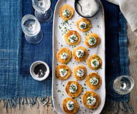 Sweet potato blini with cumin & sesame crème fraîche