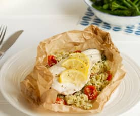 Sea Bass with Lemon & Herb Couscous