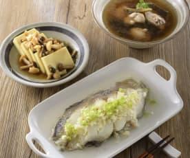 香蒜鱈魚、百菇時蔬豆腐&蔭瓜香菇雞湯