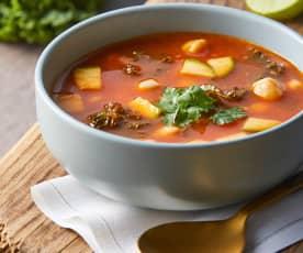 Sopa de garbanzo, kale y calabacita