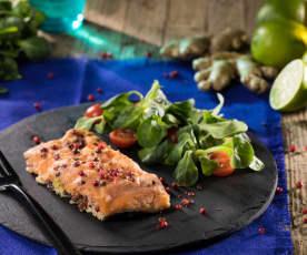 Salmone sottovuoto aromatizzato al lime e zenzero
