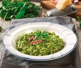 Risotto verde con spinaci e pancetta